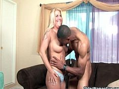 Hairy socccer mom Joclyn Stone gets fucked and facial by black cock
