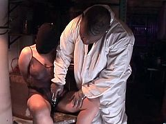 Bound girl Velicity Von fondled by a black guy