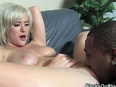 Drunk of happiness short haired blondie Naomi Cruise goes interracial