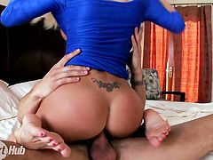 Impressively hot long legged auburn cowgirl teases dude's cock with her feet