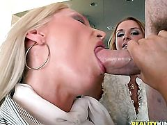 Blonde doll Janet Mason with juicy hooters is dangerously horny after giving blowjob to Jordan Ash
