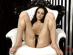 Brunette asian Ann Marie La Sante screams as she dildos her love hole