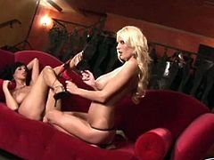 Hanna Hilton and her lecherous brunette girlfriend make love on a red luxury couch