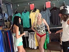 If reality shows entertain you, go ahead and have fun! A blonde babe gets challenged to undress in public. At first, the naughty lady agrees to pose indecently right in the clothes shop. The excitement begins when she gets on knees to suck cock, in exchange for a sum of money. Don't miss the sexy details!