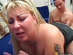 Her smooth pussy fucks his hairy hand