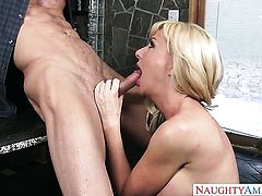 Sasha Sean with juicy jugs and trimmed muff gets doggystyled by hard cocked guy Ryan Mclane