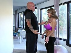 Busty fair haired MILF sucks giant cock of her brutal personal trainer