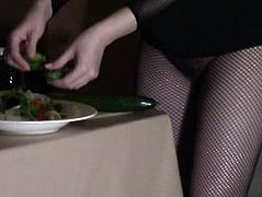 Hot Room Service Slut Fucks Cucumber before Fucking and milking guests cock