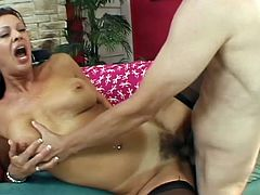 Filthy and voracious brunette Vanessa Videl gets too bushy cunt fucked