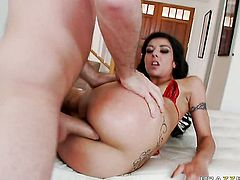 James Deen whips out his ram rod to fuck breathtakingly beautiful Lou Charmelles asshole