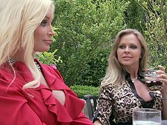 Two cougars get together in a country club. Dyanna Lauren and Ami Miley have a drink together and then continue their date in an empty club house.