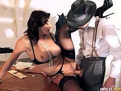 Dark haired elegant slut Anna Polina in black lingerie and high heels spreads her sexy legs on the edge of a desk and gets her cunt fucked by horny fully clothed man. Shes incredibly sexy!