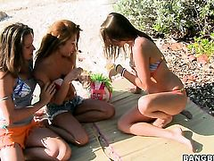 Oriental Charmane Star cant get enough and licks Holly Adamss again