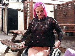 Wheelchair bound Leah Caprice flashing