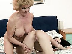 Brunette Ann Marie La Sante with giant tits wants Effie to lick her fuck hole forever