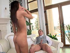 Alexis is a petite brunette with a nice bum and a firm body. She loves riding cocks and she rides a guy in a uniform and his pulsating penis in this video