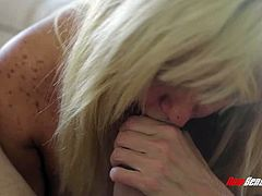 Rapacious wild blonde MILF called Tara Holiday sucks Billy Glide's cock
