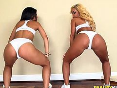 Gabriella and Chanel know how to keep their sexy bodies fit. But it requires spending quite a lot of time in the gym. Watch these two sexy babes working their bodies in skimpy gym wear. They show their perky asses and boobies, as they go through the drill. These girls are so horny and slutty, they can't keep their hands off of each other and start fingering pussy.