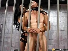Brunette binds man to the grid