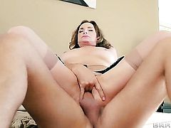 Rebecca Bardoux with huge boobs has fire in her eyes as she gets her throat banged by Keiran Lee