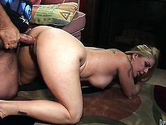 Joclyn Stone gets ruthlessly fucked in her mouth by Ron Jeremy