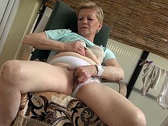 Spoiled and surely sinful short haired mature hooker masturbates on balcony