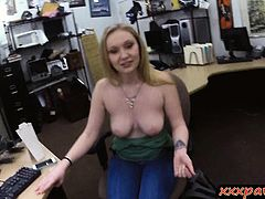 Hot blond babe sucks and pawn her pussy for a pearl necklace