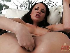 Brunette Katie St Ives shows it all in a tempting manner