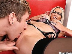 Danny Wylde gets seduced into fucking by Emma Starr with massive knockers and clean cunt