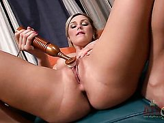 Blonde Chloe Lynn with tiny tits and clean pussy fucks herself with her fingers the way she loves it