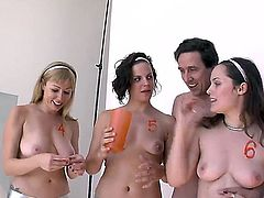 Bobbi starr is taking some photos with a couple of gorgeous hotties with natural tits and milky soft white skin that he will be fucking the life out afterwards. They look so happy in these pictures