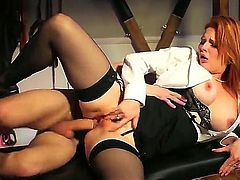 Red-haired mom Tarra White in sexy black stockings makes her dirty sex fantasies a reality in the semi-dark of the dungeon. She takes dudes love stick in her milf ass! Watch slutty milf get cornholed.