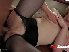 Blond bitchy chick in sexy pantyhose Lily LaBeau gets fucked in mish position