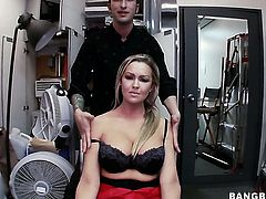 Abbey Brooks with juicy ass gets her hole attacked by guys sturdy boner