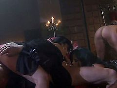 Devon Lee, Jennifer Dark, Kaylani Lei and Mikayla Mendez are all hookers and they have group sex with one horny black dude. They are all together in an orgy, wearing leather lingerie.