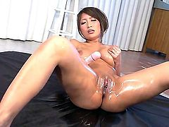 This Asian bimbo gets all nice and oiled up, plays with her jugs and does some pussy fingering. Vibrator action is a must in this solo for complete pleasure before she takes a dick in her mouth.