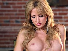 Angela Sommers is a dangerously beautiful perfect bodied MILF babe. Sexy lady in black lace stockings displays ehr nice ass and her round fake tits before pussy stroking with legs apart
