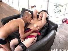 Lingerie-clad Asian slut with nice juggs sucking a stranger's cock