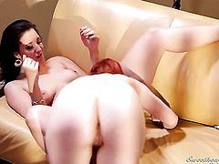 Justine Jolie licks Kimberly Kanes fuck hole like a pro  in lesbian action