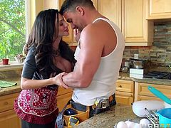 brunette milf gets banged in the kitchen