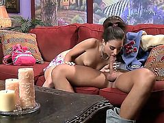 It is good when a babysitter goes that extra mile to provide a good service. After daddy comes home, Trinity St. Clair gets out of her clothes and fucks him.