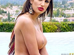 A hot wife spends the afternoon, enjoying a kinky massage. Who could pay attention to the lovely city view, when this busty brunette reveals her attractive tits? See her body oiled with lusty movements. The bitch wearing red lipstick and high heels is just craving to get her mouth filled with a juicy cock...