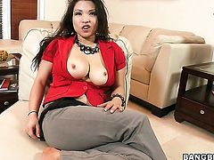 Asian Alexis Lee fucking like a first rate whore in interracial porn action with horny guy