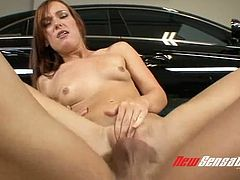 Red haired sweetie Dani Jensen fucks with her dude in garage