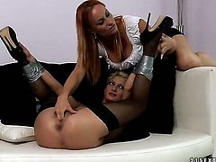 Blonde Katy Parker with big melons gets her bush attacked by lesbian Pearl Diamonds tongue