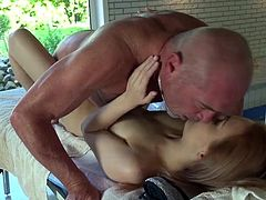 Visit official Beauty And The Senior's HomepageYoung bimbo receives a senior dick to play with during a steamy massage which turns into a rough fuck adventure