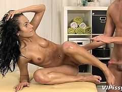 If you like naughty uninhibited bitches, click to watch smokey Lexi Dona nude, enjoying her partner's hard cock. This hungry for dick slutty brunette with small adorable tits, is just craving to spread her legs and get banged... Dare to see the inciting pissing scene.