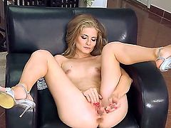 Cayenne Klein inserts a see through dildo into her snatch. The entry is shows close up. Then she turns over to give us a good look of her skinny white ass.