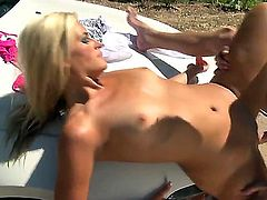 Blonde girl Kaycee Brooks is so hot. We get to look at her on top of the hood of the car getting an anal gangbang. She loves doing it outdoors where anyone can walk in on her.