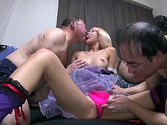 blonde asian babe gives in to three guys